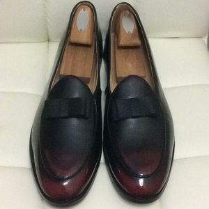 Men's Burgundy Black Leather Bow tie Loafers